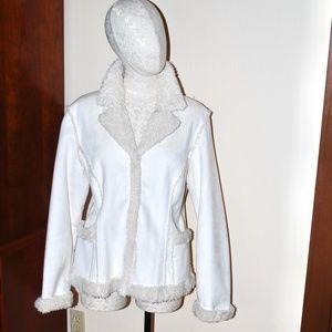 Off White Cream Faux Suede Fur Coat Jacket XL